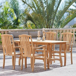 Darby Home Co Ballinger Teak 5 Piece Dining Set