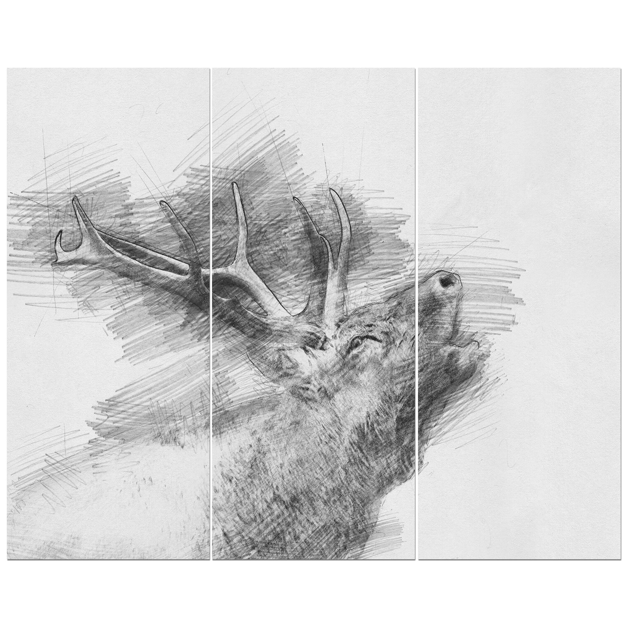 East urban home black and white deer pencil sketch oil painting print multi piece image on wrapped canvas wayfair