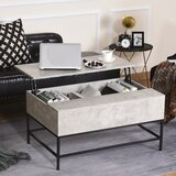 Industrial Lodge Home Lift Top Coffee Table With Hidden Storage Compartment Lift Tabletop Dining Table For Living Room, Faux Marble