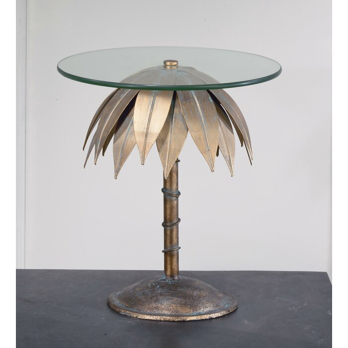 Tiberius Small Palm Tree Pedestal End Table