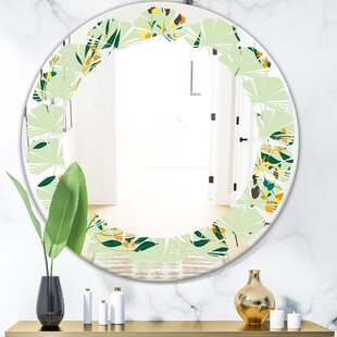 Leaves Bright Eucalyptus Floral Pattern III Cottage Americana Frameless Wall Mirror by East Urban Home