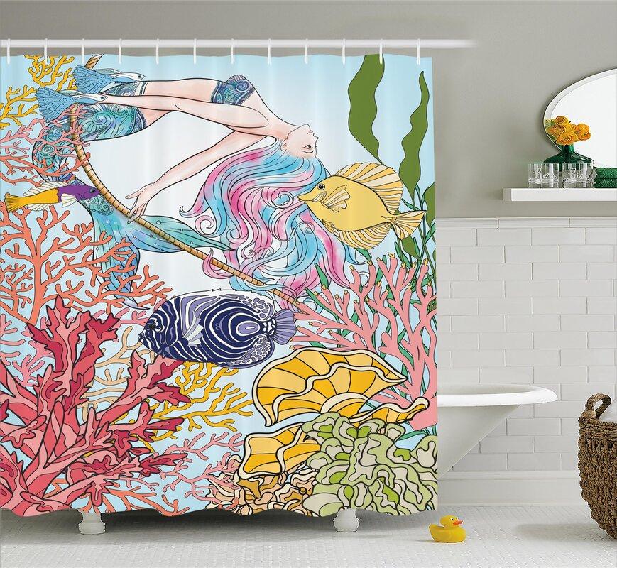 Mackenzie Sketchy Sea Coral Reefs Shower Curtain