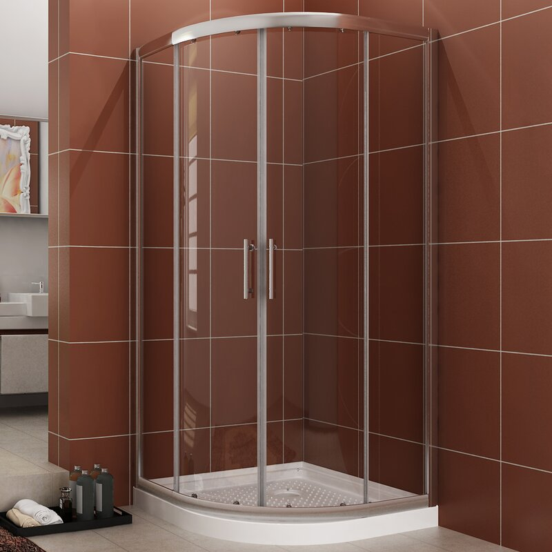 Good Shop To Buy Watqen 36 6 W X 71 8 H Neo Angle Sliding Shower Enclosure With Base Included For Bathroom
