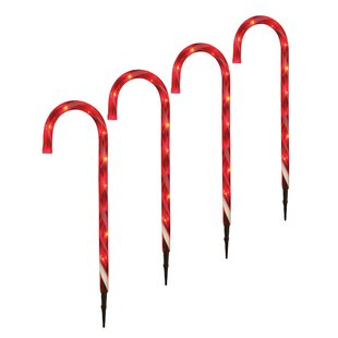 Candy Cane Light Garden Stake (Set Of 4) By The Seasonal Aisle