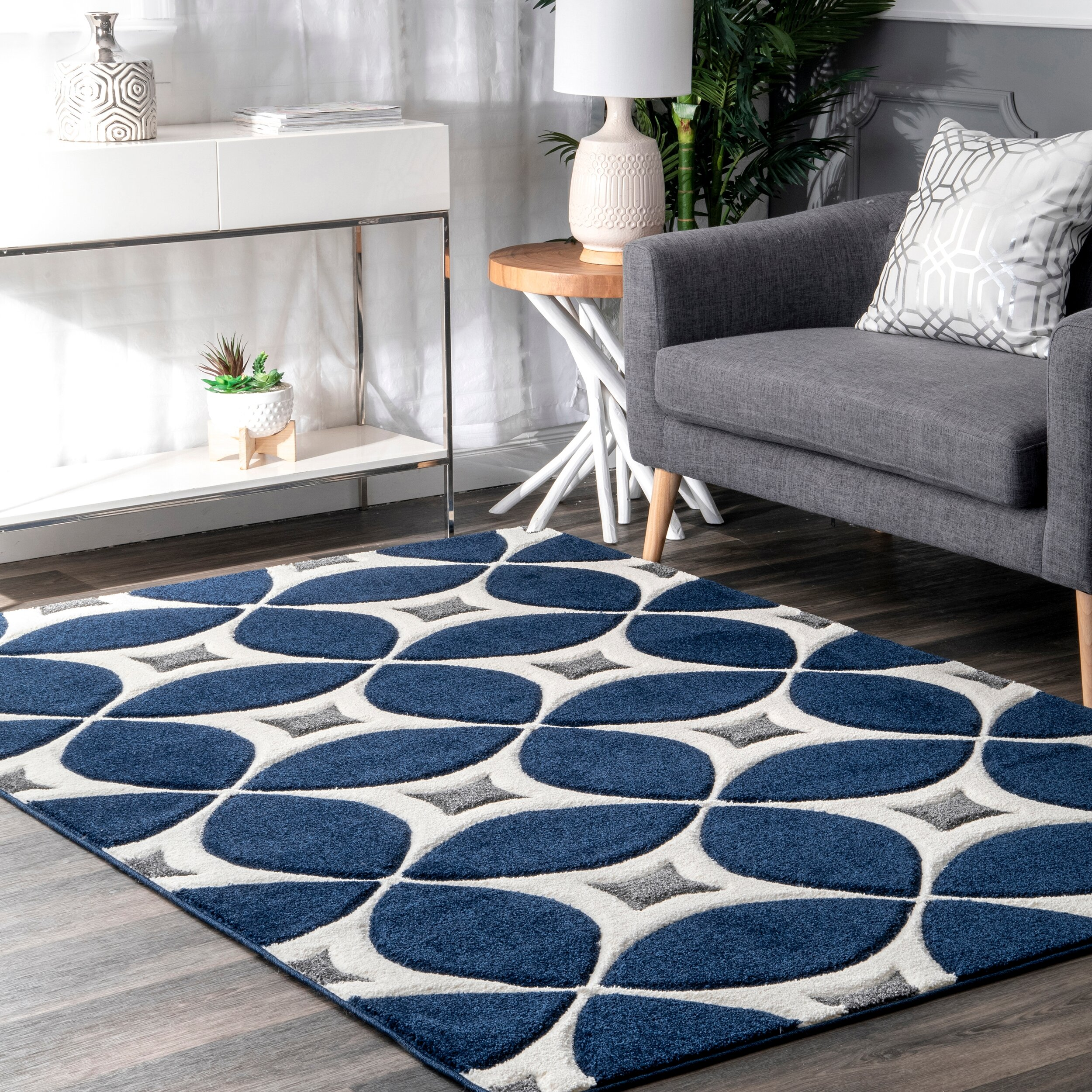 Picture of: Langley Street Jamar Hand Tufted Navy Blue White Gray Area Rug Reviews Wayfair Ca