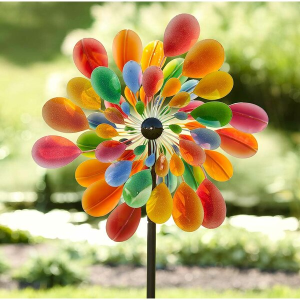Rainbow Wind Spinner Toy Ground Stake Outdoor Yard Garden Decor Spinner  Y Pf