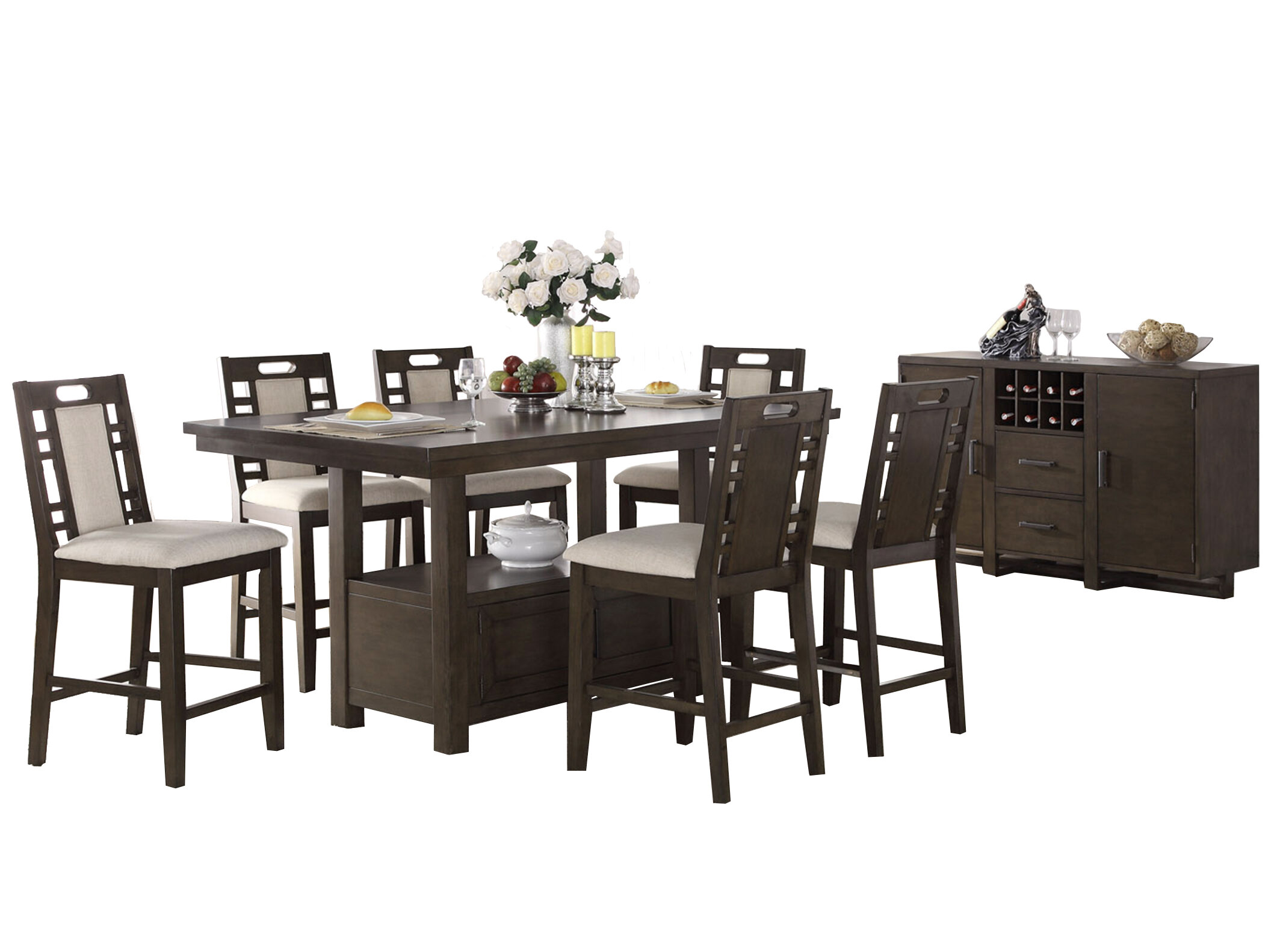 Genial Pylle Hill 8 Piece Counter Height Dining Set