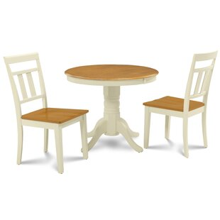Dahlquist 3 Piece Solid Wood Dining Set by August Grove Purchase