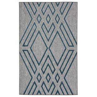 Tasma Geometric Gray/Blue Indoor/Outdoor Area Rug