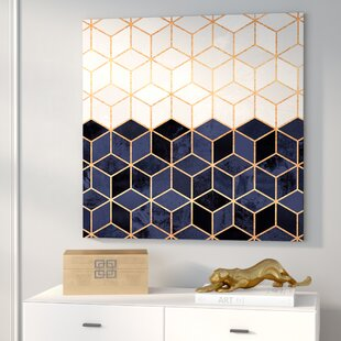U0027White And Navy Cubesu0027 Graphic Art On Wrapped Canvas