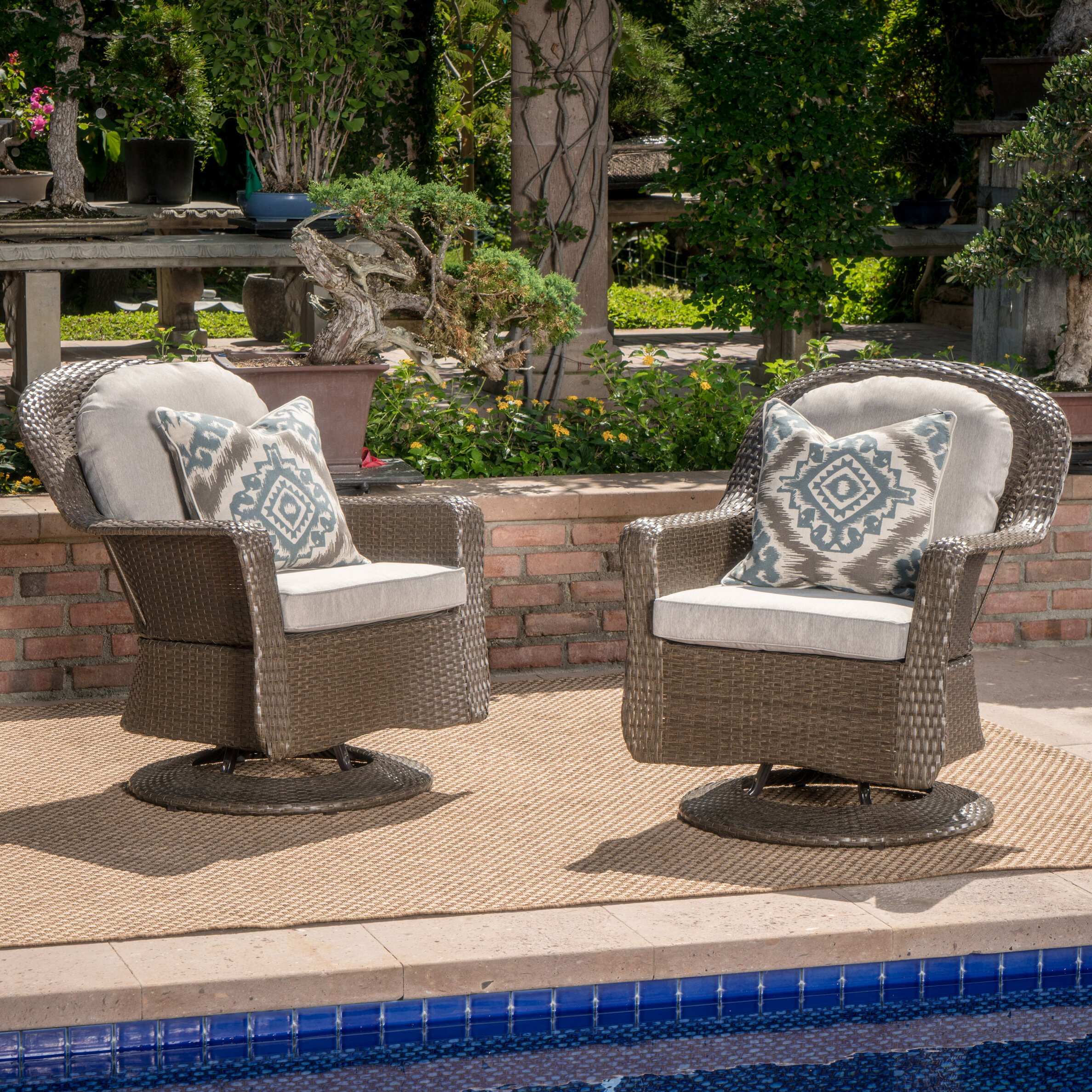 Birch Lane Heritage Dearing Modern Outdoor Wicker Swivel Club Patio Chair With Cushions Reviews