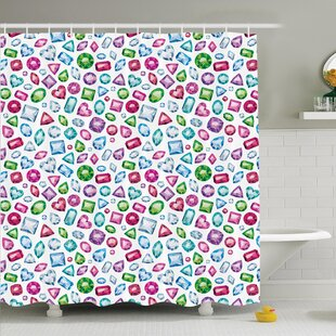 Hearts Diamonds Bridal Shower Curtain Set by Ambesonne