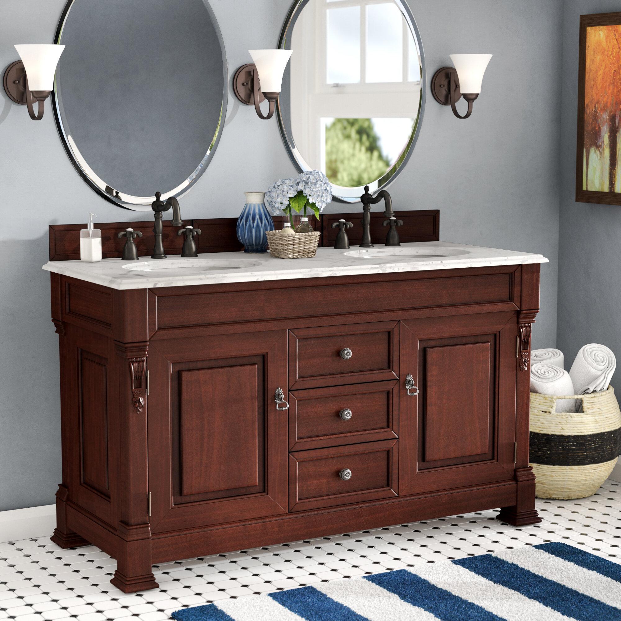 Darby Home Co Bedrock 60 Double Bathroom Vanity Set With Drawers Reviews Wayfair