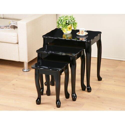 3-tlg. Satztisch-Set Elsner | Wohnzimmer > Tische > Satztische & Sets | Schwarz | Massivholz - Mdf | Marlow Home Co.