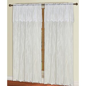 Carmen Lace Geometric Semi-Sheer Rod Pocket Single Curtain Panel