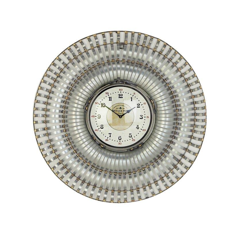 Ebern Designs Oversized Henton Rustic Round Analog 31 Wall Clock Wayfair