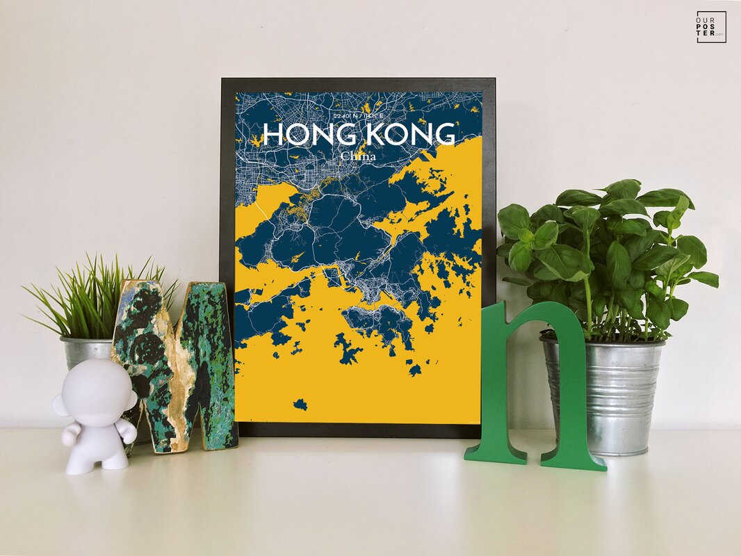 OurPoster.com \'Hong Kong City Map\' Graphic Art Print Poster in Amuse ...