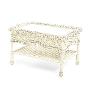Prospect Hill Wicker Coffee Table with Glass Tabletop