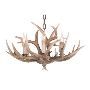 Millwood Pines Wehrle Polyresin Antler 6-Light Chandelier