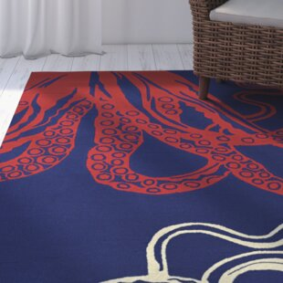 Shelford Hand-Hooked Red/Blue Indoor/Outdoor Area Rug