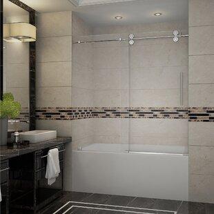 Affordable Langham 60 x 60 Single Sliding Completely Frameless Tub-Height Shower Door ByAston