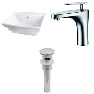 Inexpensive Ceramic 17 Wall Mount Bathroom Sink with Faucet and Overflow By American Imaginations