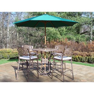 Astoria Grand Thelma 5 Piece Bar Height Dining Set with Cushions and Umbrella