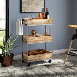Prescot Metal/Wood Bar Cart by Williston Forge
