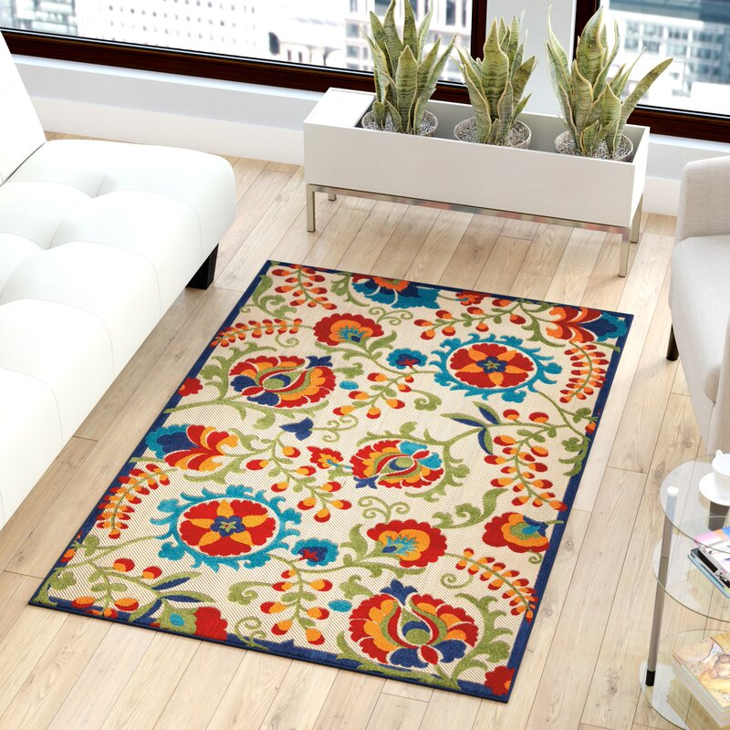 Sol 72 Outdoor Lahaina Power Loom Ivory Red Green Area Rug Reviews Wayfair Ca