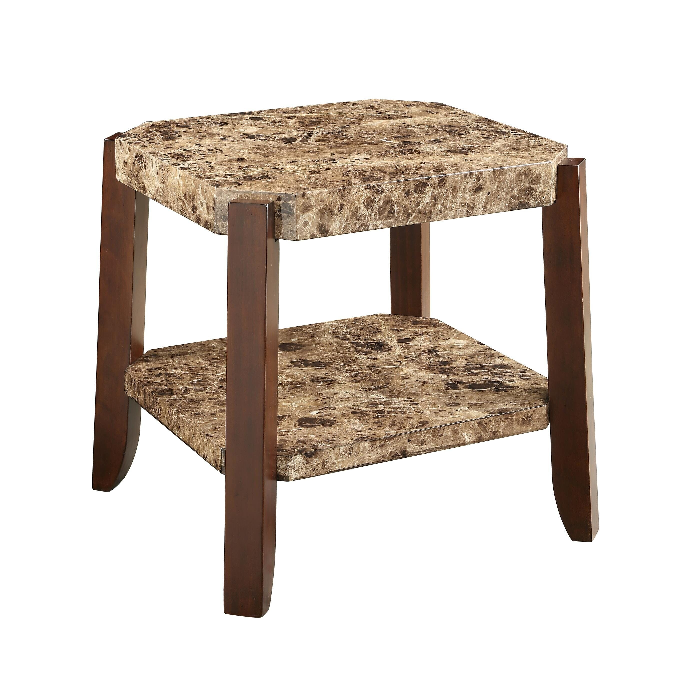 Awesome Matias Marble Top And Bottom Shelf Wooden End Table Short Links Chair Design For Home Short Linksinfo