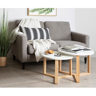 Mahalia Minimalist Wood 2 Piece Nesting Tables by Foundry Select