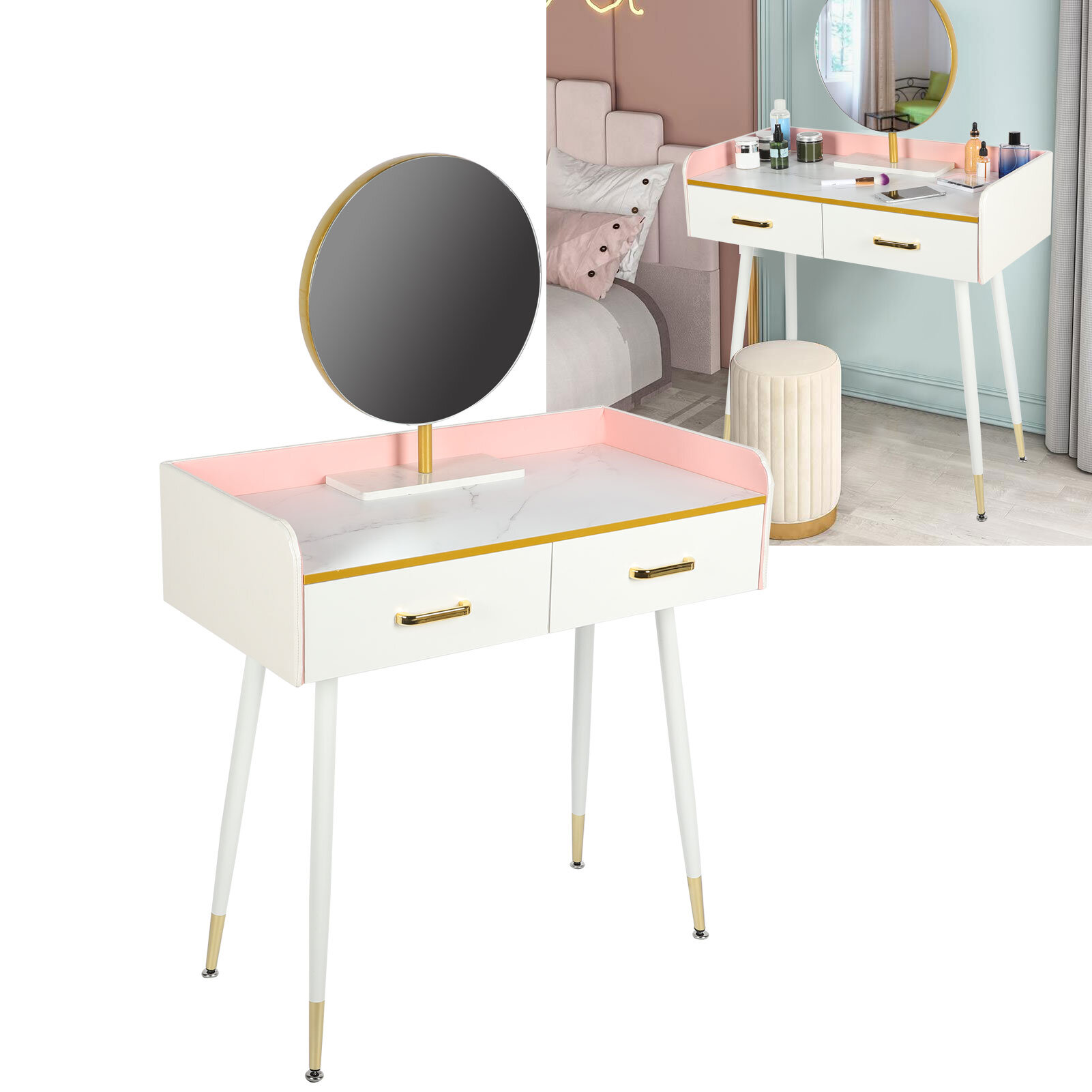 Mercer41 Makeup Vanity Table Set With Round Mirror, Dressing Desk