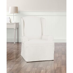 Essential Twill T-Cushion Wingback Slipcover by Sure Fit