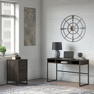 Quiroz Writing Desk with 3 Drawer File Cabinet