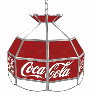 Trademark Global Coca Cola Vintage Stained Glass 1-Light Pool Table Lights Pendant
