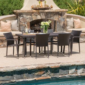 Georgene Outdoor Wicker 7 Piece Dining Set