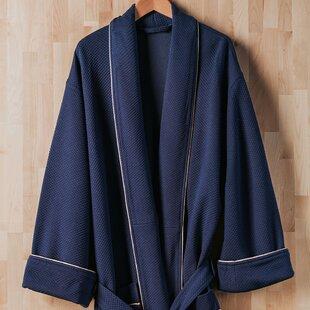 Luxury Diamond Cotton Blend Waffle Bathrobe