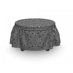 Bullseye Pinwheel Motif Ottoman Slipcover (Set Of 2) By East Urban Home