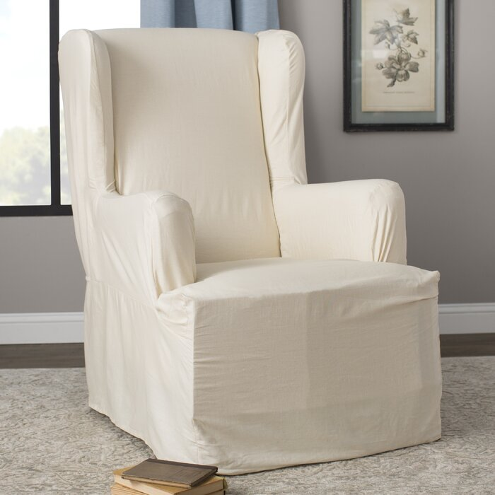 Cotton Duck T Cushion Wingback Slipcover