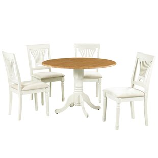 Sickles 5 Piece Drop Leaf Solid Wood Dining Set August Grove