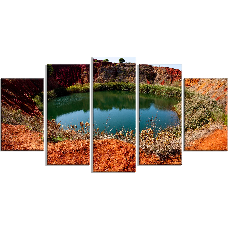 Designart Bauxite Mine With Lake 5 Piece Photographic Print On Wrapped Canvas Set Wayfair