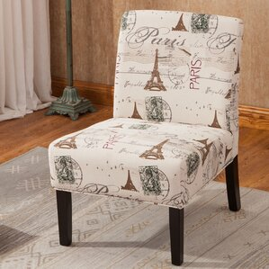Goodale Script Linen Print Fabric Armless Oversize Slipper Chair by Roundh..