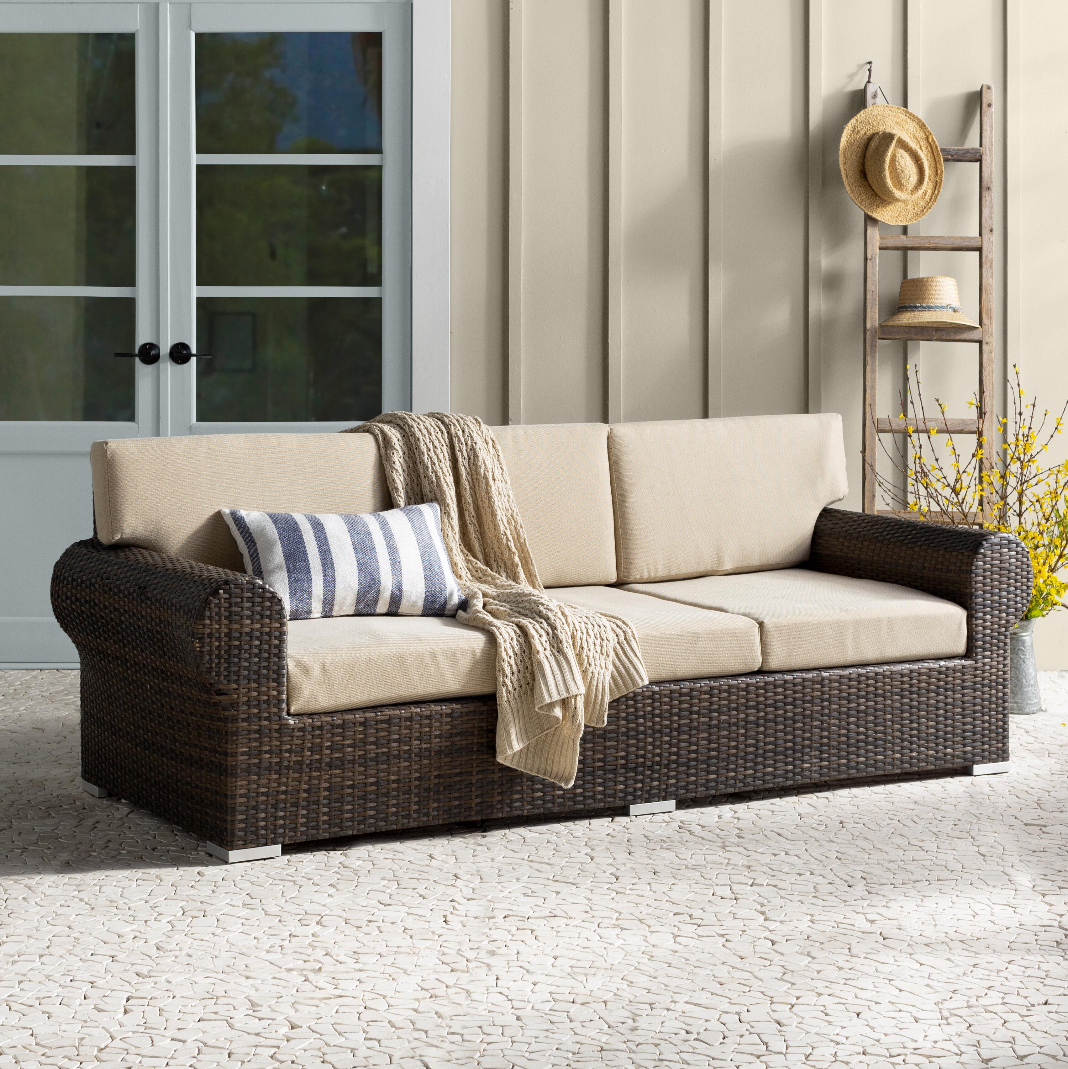 Birch Lane™ Heritage Brookhaven Patio Sofa With Cushions U0026 Reviews | Birch  Lane