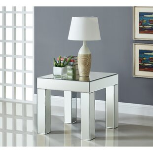 House of Hampton Nevels Mirrored End Table