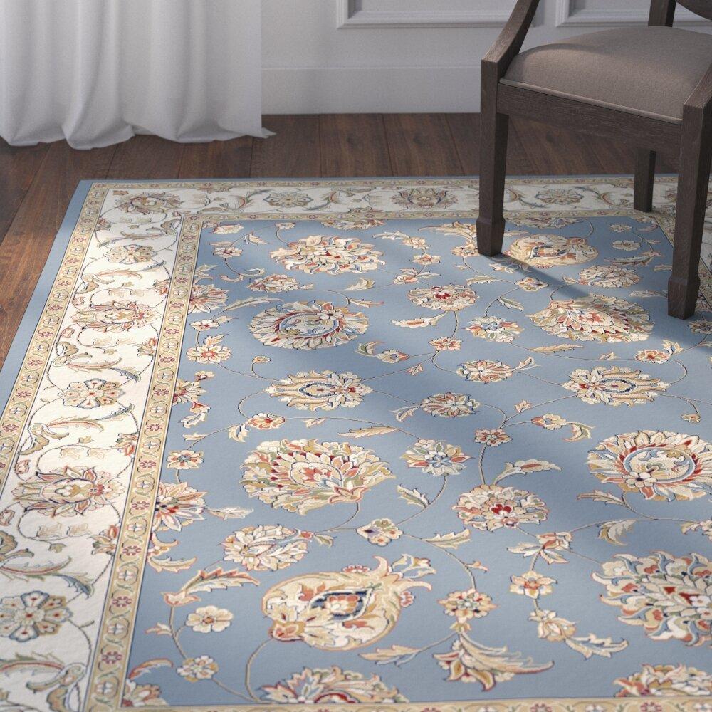 Astoria Grand Attell Oriental Light Blue Ivory Area Rug Reviews Wayfair