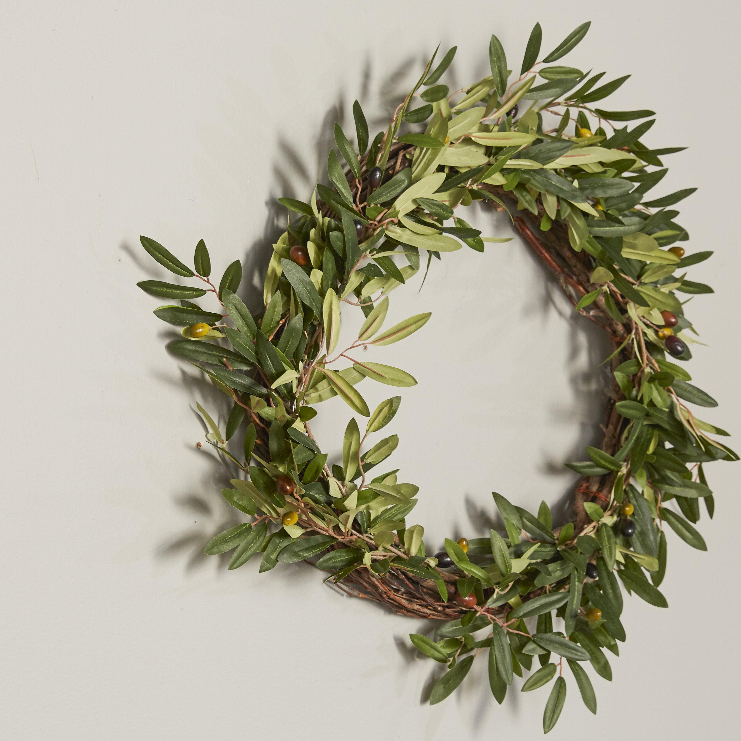 20 faux olive branch wreath reviews birch lane