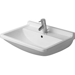 Reviews Starck 3 Ceramic Wall Mount Bathroom Sink with Overflow By Duravit