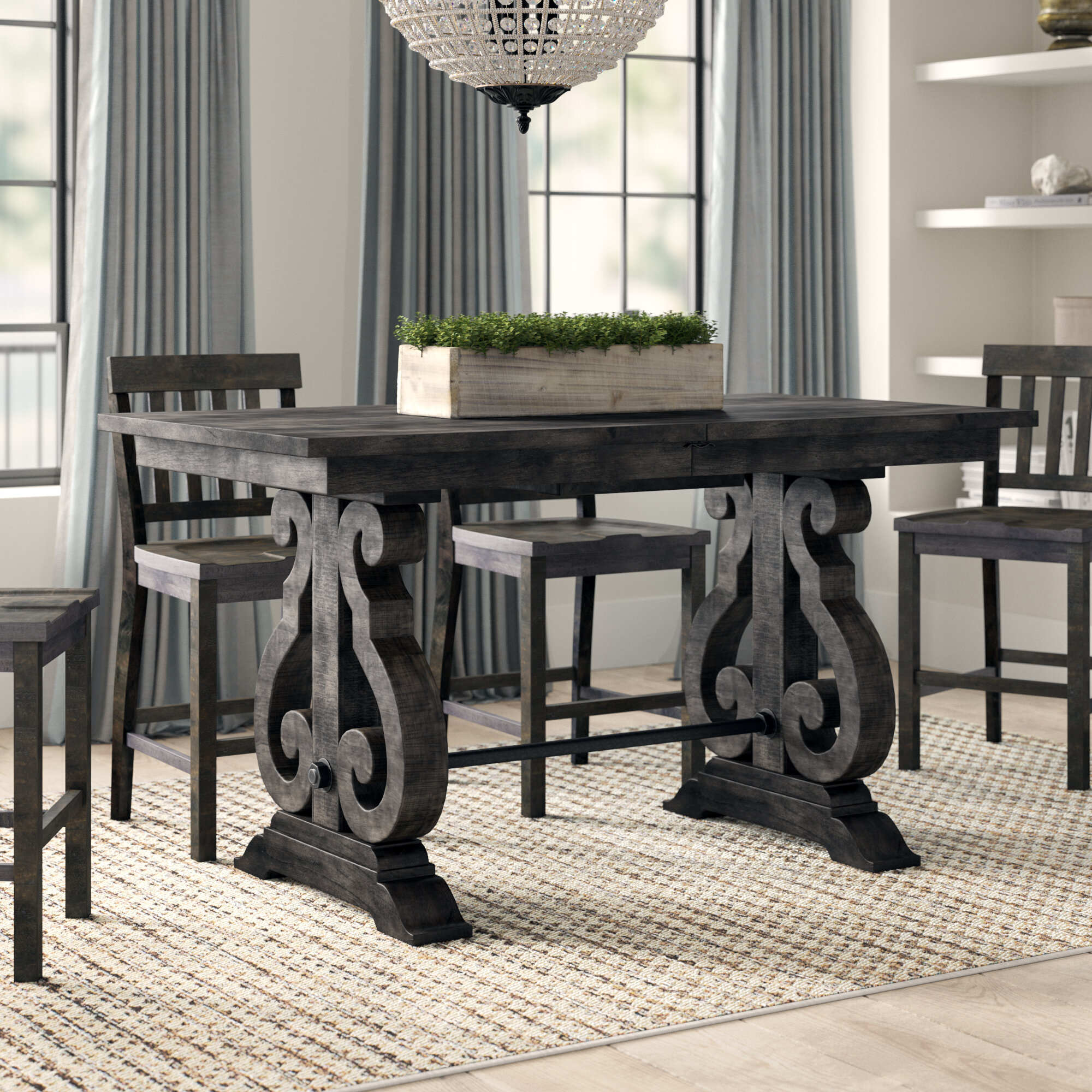 Picture of: Greyleigh Ellenton Counter Height Extendable Pine Solid Wood Dining Table Reviews Wayfair