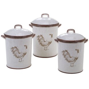 Rooster 3 Piece Kitchen Canister Set