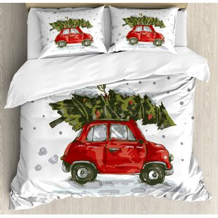 Christmas Red Retro Car Xmas Tree Vintage Family Style Illustration Snowy Art Duvet Cover Set